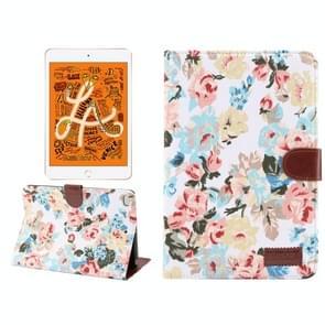 Horizontal Flip Floral Cloth Leather Case for iPad Mini 2019 / iPad Mini 4, with Holder & Sleep / Wake-up Function & Wallet (White)