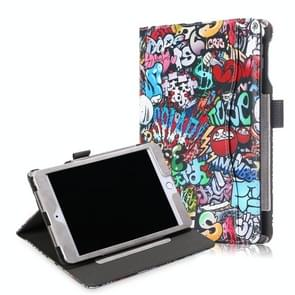 Cowhide Texture Graffiti Pattern Colored Drawing Horizontal Flip Leather Case for iPad Mini 2019 / Mini 4, with Holder & Sleep / Wake-up Function