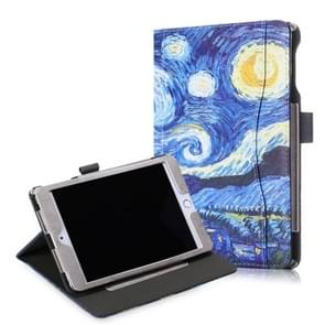 Cowhide Texture Starry Sky Pattern Colored Drawing Horizontal Flip Leather Case for iPad Mini 2019 / Mini 4, with Holder & Sleep / Wake-up Function