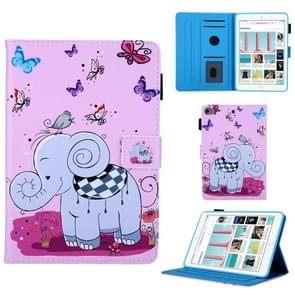 Butterfly olifant patroon horizontale Flip lederen case voor iPad mini 2019 & 4 & 3 & 2 & 1, met houder & kaartsleuf & slaap/Wake-up functie
