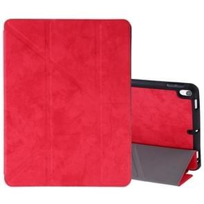 Zijde textuur horizontale Flip lederen case voor iPad Air 2019/Pro 10 5 inch  met drie-opvouwbare houder & slaap/Wake-up functie (rood)