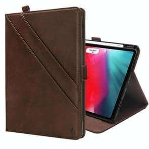 Horizontal Flip Double Holder Leather Case for iPad Pro 11 inch (2018), with Card Slots & Photo Frame & Pen Slot(Dark Brown)