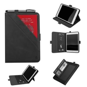 Horizontal Flip Double Holder Leather Case for iPad Mini (2019), with Card Slots & Photo Frame & Pen Slot(Black)