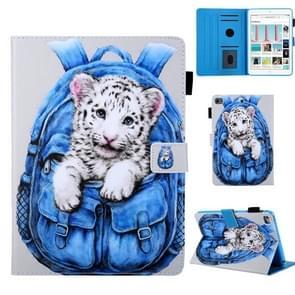 Schooltas serie witte tijger patroon horizontale Flip lederen case voor iPad mini 2019 & 4 & 3 & 2 & 1, met houder & kaartsleuf & slaap/Wake-up functie