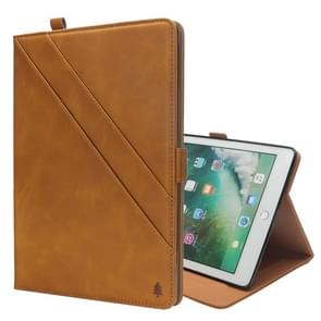 Horizontal Flip Double Holder Leather Case for iPad Pro 10.5 (2017), with Card Slots & Photo Frame & Pen Slot (Light Brown)