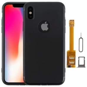 Kumishi 2 in 1 Dual SIM Card Adapter + TPU Case with SIM Card Tray / SIM Card Pin for iPhone X, Dual Card Single Standby(Black)