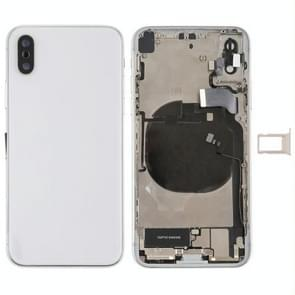 Battery Back Cover Assembly met Side Keys & Vibrator & Loud Speaker & Power Button + Volume Button Flex Cable & Card Tray & Battery Adhesive voor iPhone X(Wit)