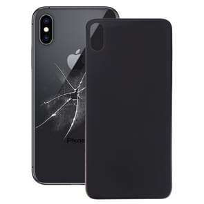 Easy Replacement Big Camera Hole Glass Back Battery Cover with Adhesive for iPhone X(Black)