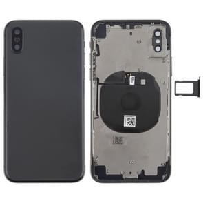Battery Back Cover Assembly with Side Keys & Wireless Charging Module & Volume Button Flex Cable & Card Tray for iPhone X(Black)