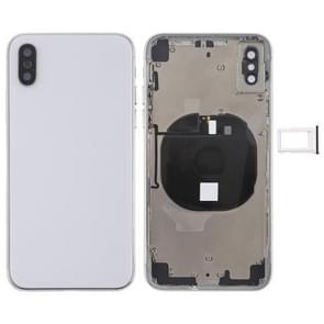 Battery Back Cover Assembly met Side Keys & Wireless Charging Module & Volume Button Flex Cable & Card Tray voor iPhone X(Wit)