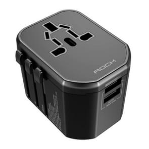 ROCK T20 2.4A Multi-functional Plug Travel Charger, For iPad , iPhone, Galaxy, Huawei, Xiaomi, LG, HTC and Other Smart Phones, Rechargeable Devices(Black)