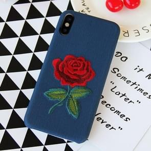 Blue Background Embroidery Blooming Rose Pattern PU Soft Protective Case for iPhone X