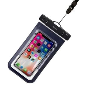 Baseus Transparent Universal Waterproof Bag with Lanyard, For iPhone, Galaxy, Huawei, Xiaomi, LG, HTC and Other Smart Phones of 6 inch and Below (Dark Blue)
