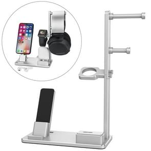 6 in 1 Aluminum Alloy Charging Dock Stand Holder Station for Headphones, AirPods, iPad, Apple Watch, iPhone(Silver)