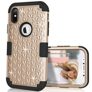 Diamond Series Electroplating PC +  Silicone Protective Case for   iPhone X / XS   (Black+Gold)
