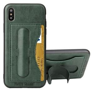 Fierre Shann For iPhone X Full Coverage Protective Leather Case with Holder & Card Slot(Green)