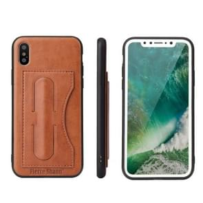 Fierre Shann For iPhone X Full Coverage Protective Leather Case with Holder & Card Slot(Brown)