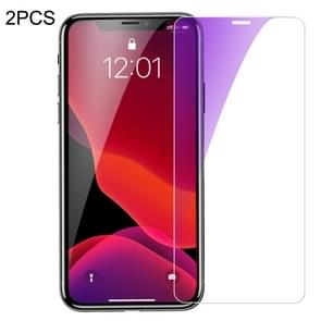 2 PCS Baseus 0.15mm Anti Blue-ray Full Tempered Glass Film (Secondary Reinforcement ) for iPhone 11 Pro / XS / X