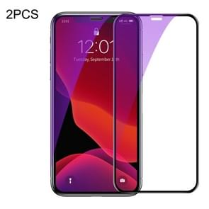 2 PCS Baseus 0.23mm Anti Blue-ray Crack-resistant Edges Curved Full Screen Tempered Glass Film for iPhone 11 Pro / XS / X