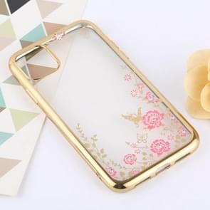 Flowers Patterns Electroplating Soft TPU Protective Cover Case for iPhone 11 Pro (Gold)