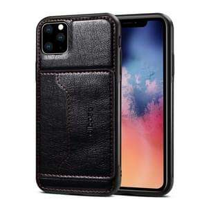 For iPhone 11 Pro Max Dibase TPU + PC + PU Crazy Horse Texture Protective Case with Holder & Card Slots(Black)