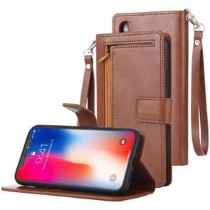 MERCURY GOOSPERY DETACHABLE DIARY Horizontal Flip Leather Case with Holder & Card Slots & Zipper & Wallet for iPhone XR (Brown)