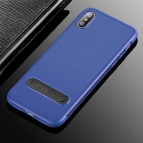 TOTUDESIGN Slim serie Carbon Fiber textuur TPU beschermhoes voor iPhone XS Max  met Holder(Blue)