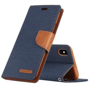 MERCURY GOOSPERY CANVAS DIARY Denim Texture Horizontal Flip Leather Case for iPhone XS Max, with Holder & Card Slots & Wallet (Dark Blue)