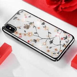 SULADA Flower Pattern Plating Diamond PC Case for iPhone XS Max (Black)