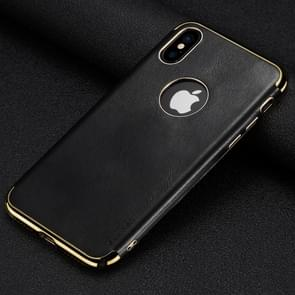 SULADA Plating Edge TPU + Leather Magnetic Protective Case for iPhone XS Max (Black)