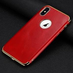 SULADA plating rand TPU + lederen magnetische beschermende case voor iPhone XS Max (rood)