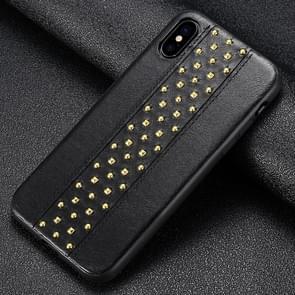 SULADA klinknagel stijl TPU + lederen beschermhoes voor iPhone XS Max (zwart)
