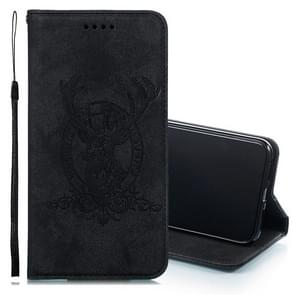 Deer Head Pattern Horizontal Flip Leather Case for iPhone XS Max, with Holder & Card Slots & Wallet & Lanyard (Black)
