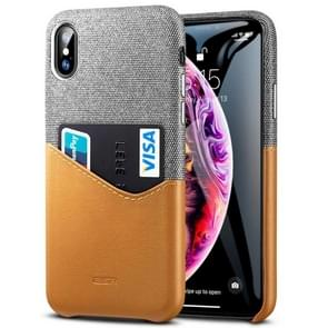 ESR Metro Series Soft Fabric + PU Leather Case for iPhone XS Max, with Card Slot(Brown)