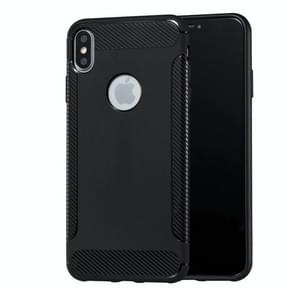 Carbon Fiber Anti-slip TPU Protective Case for iPhone XS Max(Black)