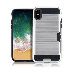 Brushed Texture Shockproof TPU + PC Case for iPhone XS Max , with Card Slots (Silver)