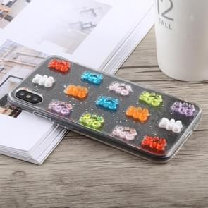 3D Epoxy Bear Pattern Shockproof Soft PC+TPU Case for iPhone XS Max(Transparent)