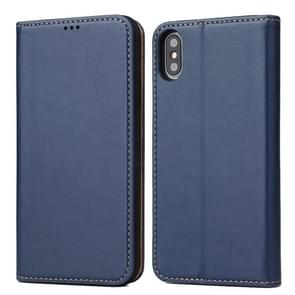 Horizontal Flip PU Leather Case for iPhone XS Max, with Holder & Card Slots & Wallet(Blue)