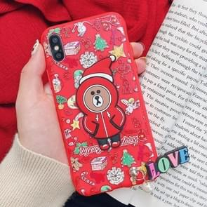 Christmas Bear Paster Pattern TPU Case for iPhone XS Max, with Pendant