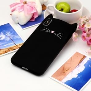 Cat Whiskers Pattern Silicone Protective Case for iPhone XS Max (Black)