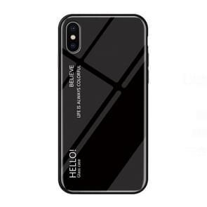 Gradient Color Glass Case for iPhone XS Max (Black)