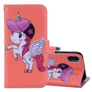 Unicorn Pattern Horizontal Flip Leather Case for iPhone XS Max,  with Holder & Mirror & Card Slot & Wallet & Lanyard(Orange)