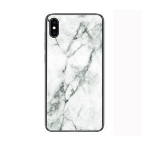 Marmeren glas beschermende geval voor iPhone XS Max(White)