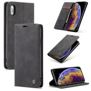 CaseMe-013 multifunctionele Retro Frosted horizontale Flip Leather Case for iPhone XS Max, met kaartsleuf & houder & Wallet(Black)