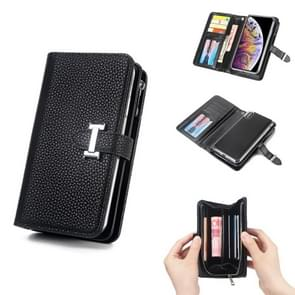 Separable I Word Buckle Litchi Texture Flip Leather Wallet Case for iPhone XS Max with Zipper & Card Slot & Photo Frame & Lanyard (Black)