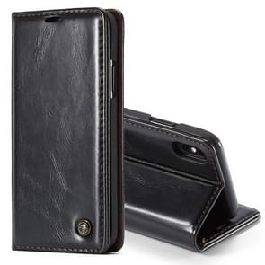 CaseMe Business Style Crazy Horse Texture Horizontal Flip PU Leather Case for iPhone XS Max, with Holder & Card Slots (Black)