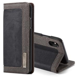 CaseMe Business Style Horizontal Flip PC + Denim Canvas Leather Case for iPhone XS Max, with Holder & Card Slots(Black)