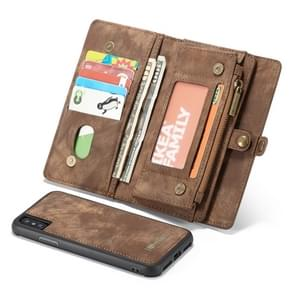CaseMe Detachable Multifunctional Horizontal Flip Leather Case for iPhone XS Max, with Card Slot & Holder & Zipper Wallet & Photo Frame (Brown)