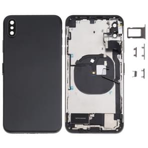 Battery Back Cover Assembly (met Side Keys & Loud Speaker & Motor & Camera Lens & Card Tray & Power Button + Volume Button + Oplaadpoort + Signal Flex Cable & Wireless Charging Module) voor iPhone XS Max(Zwart)