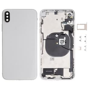 Battery Back Cover Assembly (with Side Keys & Loud Speaker & Motor & Camera Lens & Card Tray & Power Button + Volume Button + Charging Port + Signal Flex Cable & Wireless Charging Module) for iPhone XS Max(White)